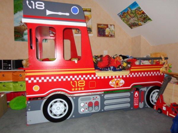 Lit camion pompier - Lit enfant camion de pompier ...